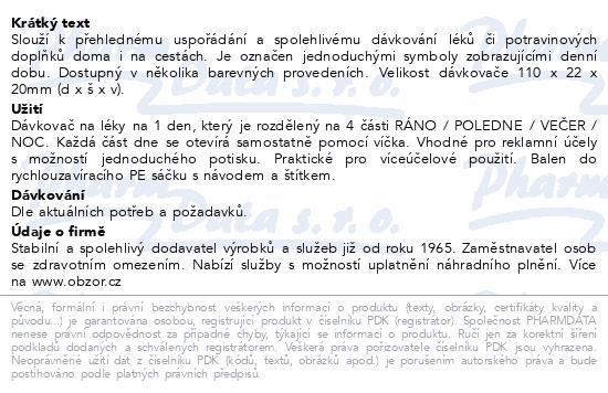 Dávkovač léků OBZOR typ 04 denní sv.zelený