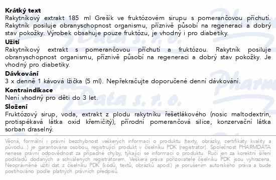 Rakytníkový extrakt 185 ml Grešík