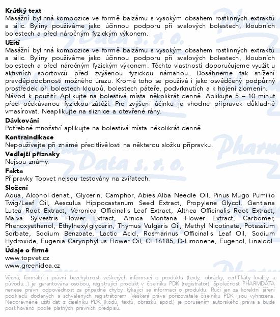 TOPVET Tatranský bylinný gel hřejivý 250ml